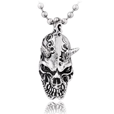 Moon Wings Vintage Devil Skull Stainless Steel Men's Pendant with Necklace from Shanghai MingJian