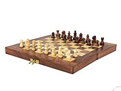 ITOS365 Folding Chess Board Set Wooden Game Handmade, Classic Game of Brilliance, Small Chess Pieces, 10 Inches