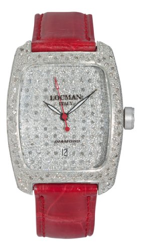 Locman Alum Ladies Diamond Pave Dial Red Strap Watch 488DCDC