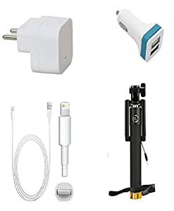 13Tech Premium Quality + Proper 1.5 Amp USB Charger + 3 meter Copper Embedded USB Cable (Data Transfer + Charging) + 2 Jack USB Car Charger + Aux Enabeled Selfie (Monopod) Compatible With Apple Iphone 6S Plus