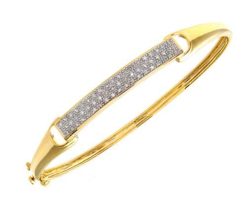9ct White Gold Quarter Carat Diamond 3-Row Pave Set Bangle