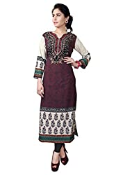 Fashion Galleria Women's Brown American Creap Kurti