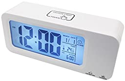 Digital Alarm Clock, RTSU® Smart Clock, Touch Button, Built-in Lithium Battery, Backlight With Low Light Sensor, 7/5 Day Alarm Mode, Progressive Alarm, Snooze Month Date Temperature Display