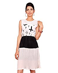 Root Two By: Vivek Women Crepe Georgette A-Line Dress (Rt-15-07 _Black And White _34)