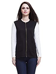 Femella Women's Cotton Quilted Jacket (DS-1285251/710/BLK/L_Black_L)