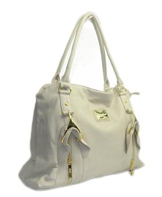 "In Style ""075"" Designer Inspired Big Tote Travel Bag (Beige)"