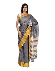 A1 Fashion Women Cotton Grey Saree With Blouse Piece - B00VUS0T8E