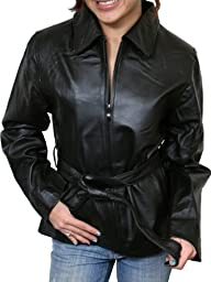 Women's Belted Zipper Black Leather Jacket Soft Genuine Leather