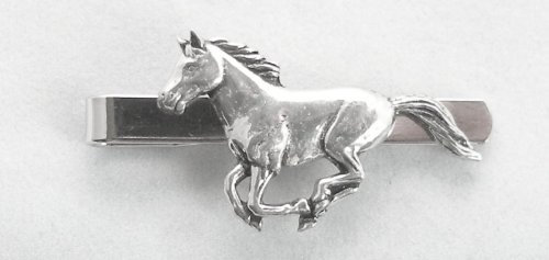 Running Horse Tie Clip (slide) in Fine English Pewter, Gift Boxed