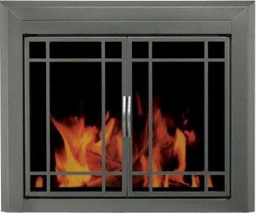 Pleasant Hearth ED-5411 Edinburg Glass Firescreen, Gunmetal, Medium (Fireplace Glass Doors Gunmetal compare prices)