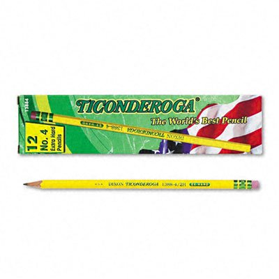 Ticonderoga Yellow Pencil, No.4 Extra Hard Lead, Dozen Dix13884