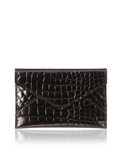 AEON Women's Mini Envelope, Chocolate Metallic Croc