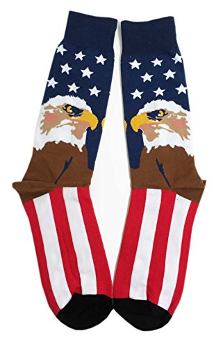 Aesthetinc Men Patriotic American Eagle Flag Stars Novelty Cotton Crew Socks