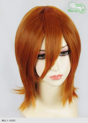 スキップウィッグ 魅せる シャープ 小顔に特化したコスプレアレンジウィッグ シャイニーミディ オレンジブラウン