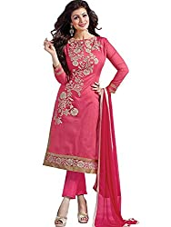 BMR Glowing Pink Designer Embroidary Straight Salwar Suit