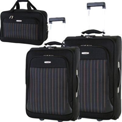 Reisetrolley Koffer schwarz Weichgepäck Set