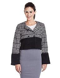 Elle Women's Wool Reefer Jacket (Eejk0019_Black_Small)