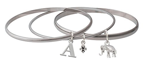 Silver Elephant Initial Fleur de Lis Mixed Bangle Bracelet Set