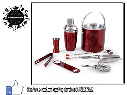 King International Stainless Steel Red Coloured Bar Set Combo Of 9 Pcs