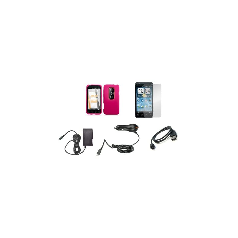 HTC EVO 3D / EVO V 4G (Sprint / Virgin Mobile) Premium Combo Pack   Hot Pink Silicone Soft Skin Case Cover + Atom LED Keychain Light + Screen Protector + Wall Charger + Car Charger + Micro USB Data Cable