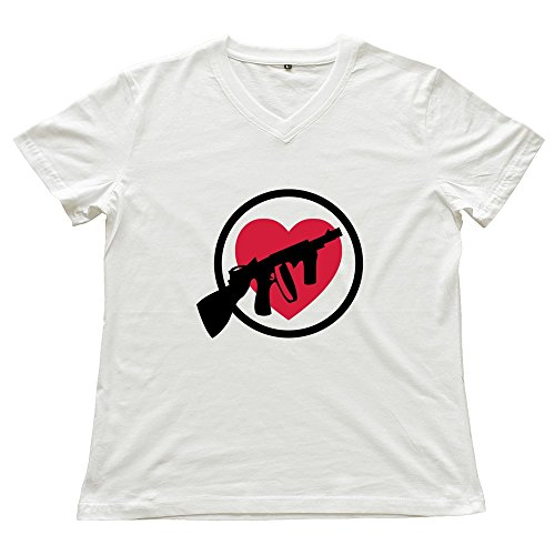 Valentine's Day Gangster Love Design V Neck Women Novelty T-Shirts