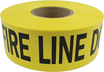 "Presco B3103Y15-658 1000' Length x 3"" Width x 3 mil Thick, Polyethylene, Yellow with Black Ink Barricade Tape, Legend ""Fire Line Do Not Cross"" (Pack of 8)"