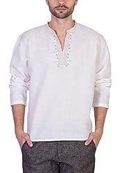 Desam Men's Linen Kurta White 40