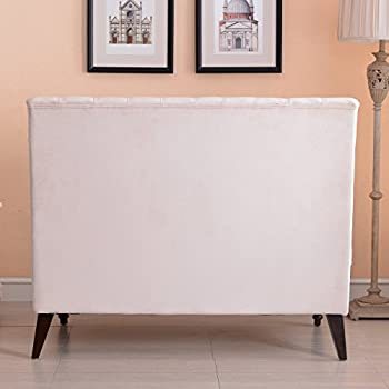Belleze Beige Velvet Modern Loveseat Bench Sofa Tufted High Back Love Seat Bedroom Settee