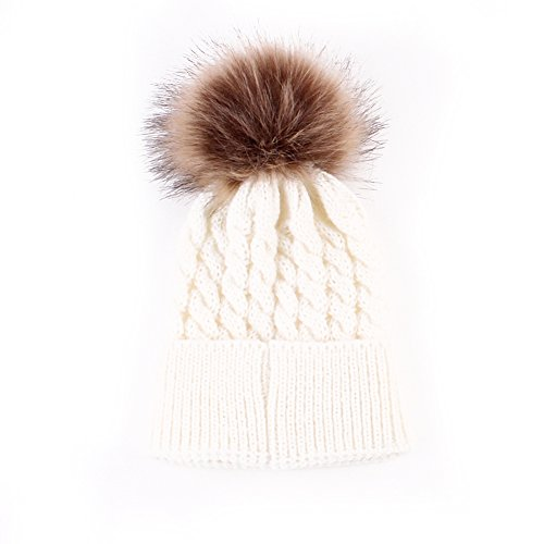Baby Boys Girls Winter Knit Beanie Raccoon Fur Pom Bobble Hat Crochet Ski Cap (white)