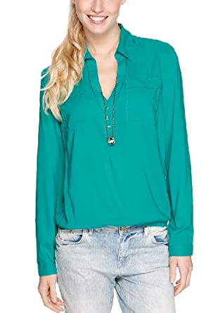 s.Oliver Damen Regular Fit Bluse 14.401.11.6041, Gr. 46, Grün (tropical green)