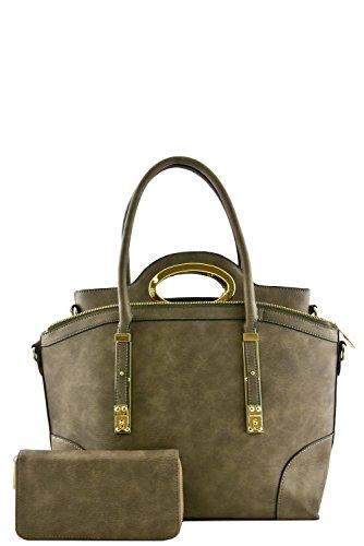 womens-designer-faux-leather-stylish-3-in-1-metal-trim-handbag-set-va2008-grey