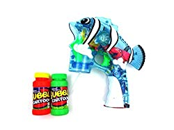 Flash Bubble Gun Cartoon Clear Fish W/ Music & Light Aa Battery Included Blue