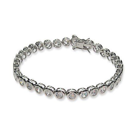 Sterling Silver Cubic Zirconia Bubbles Tennis Bracelet