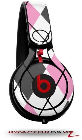 Argyle Pink And Gray Decal Style Skin (Fits Genuine Beats Mixr Headphones - Headphones Not Included)