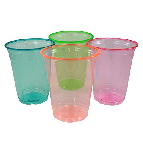 Enimay 12 oz. Neon Tumber Cups Soft Plastic Assorted Party Supplies 20 Pack - 1