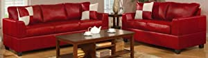 Bobkona Soft-Touch Bonded Leather Match 2-Piece Sofa Set, Red