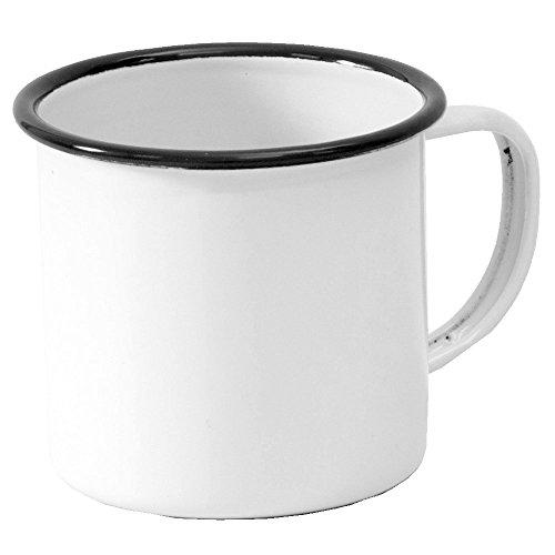 Enamelware Coffee Mug - Solid White with Black Rim (Black White Coffee Mug compare prices)