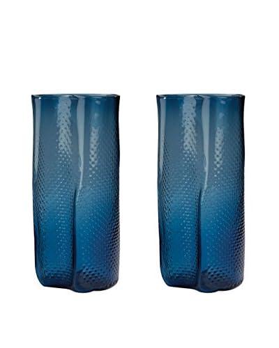 Artistic Set of 2 Navy Blue Etched Glass Vases