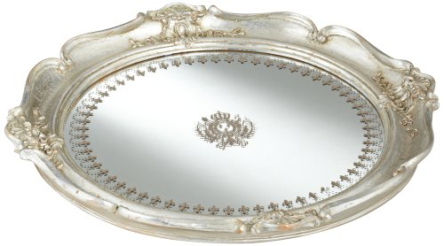 "Script Pattern 14 1/2"" Wide Round Silver Mirrored Tray front-923076"
