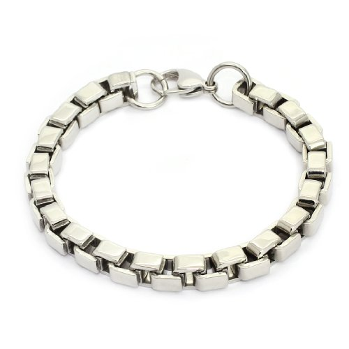 STAINLESS STEEL Stylish Bracelet / Bangle With Box Links, 8.7'' (LIFETIME WARRANTY)