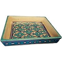 Unique Blue Pottery Small Square Tray
