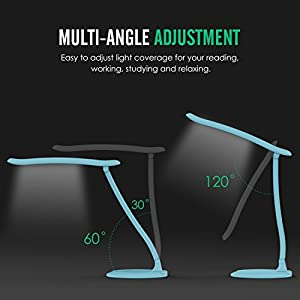 MoKo Dimmable LED Desk Lamp, Eye-caring Working / Reading / Studying Table Lamp, Touch-Sensitive Control, 5500-6000K, with Rechargeable Battery, Stepless Brightness Adjusted, Adjustable Arm, BLUE from MoKo