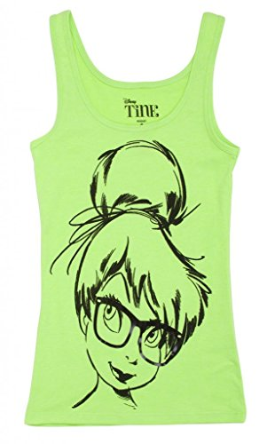 Tinker Bell Glasses Neon Green Womens Tank Top - X-Large