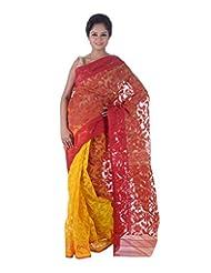 AB Woman's Dhakai Jamdani Cotton Saree Traditional In Red N Yellow , Border And Pallu With Self Weave And Zari...