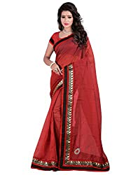 Maroon Color Chanderi Base Stones Work Saree With Unstitched Blouse