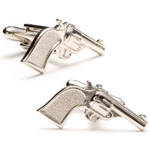 Old West Cowboy Silver Plated Six Shooter Cufflinks Cuff Links