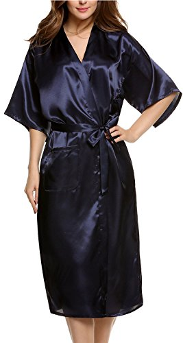 Avidlove Damen Morgenmantel Kimono, lang ,Satin