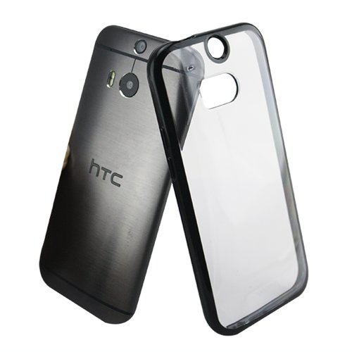 Luvvitt® Clearview Htc One M8 Case Clear View | Scratch-Resistant Hybrid Slim Transparent Case/Cover (Retail Packaging) - Clear | Black