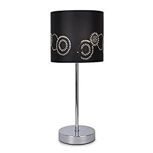 Modern Silver Chrome Touch Table Lamp with a Laser Cut Pattern Black Shade from MiniSun