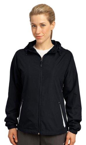 Sport-Tek - Ladies Colorblock Hooded Windbreaker Jacket. Lst76,Xx-Large,Black / White front-1035830